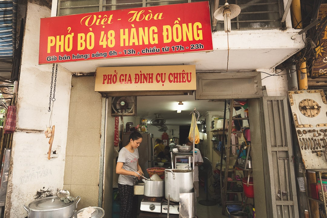 Pho Bo Hang Dong restaurant in the old quarter of Hanoi, Vietnam