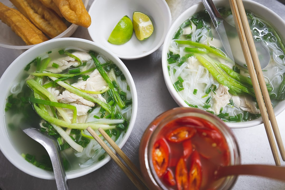 A bowl of chicken pho from Pho Nam Lam Ngu in Hanoi