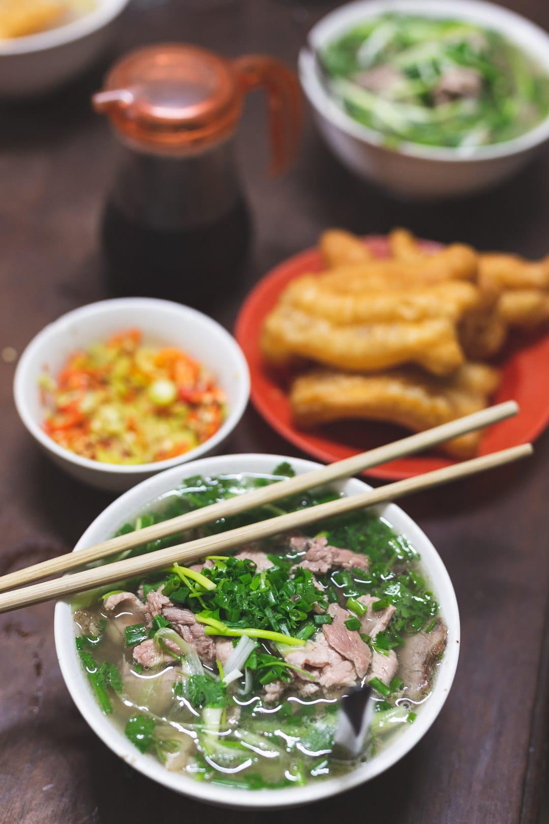 A bowl of the best pho in Hanoi, Vietnam from Pho Gia Truyen Bat Dan restaurant