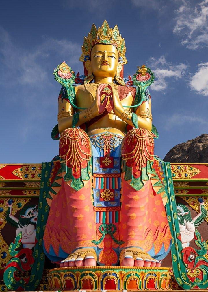 Maitreya Buddha statue in Nubra Valley, Ladakh