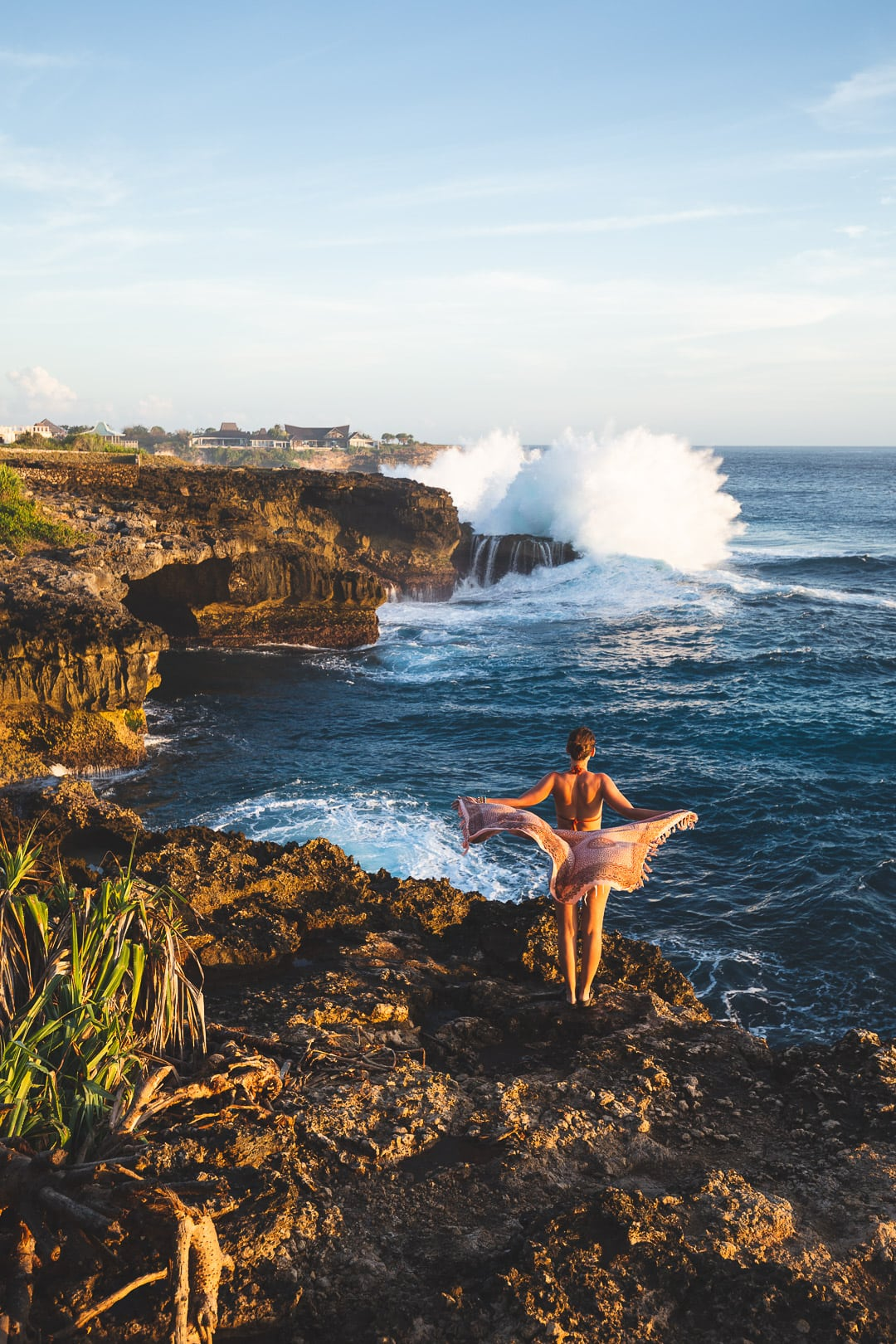Overlooking the waves at sunset near Dead Pool on Nusa Lembongan