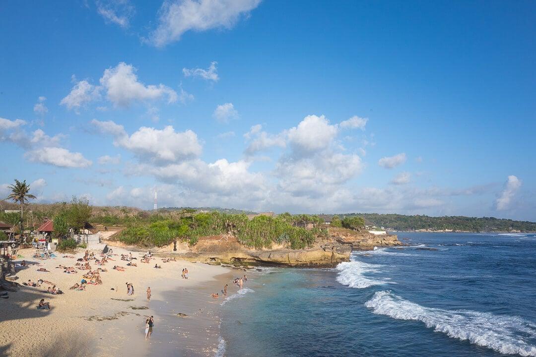 People enjoying dream beach on Nusa Lembongan island in Bali, Indonesia.