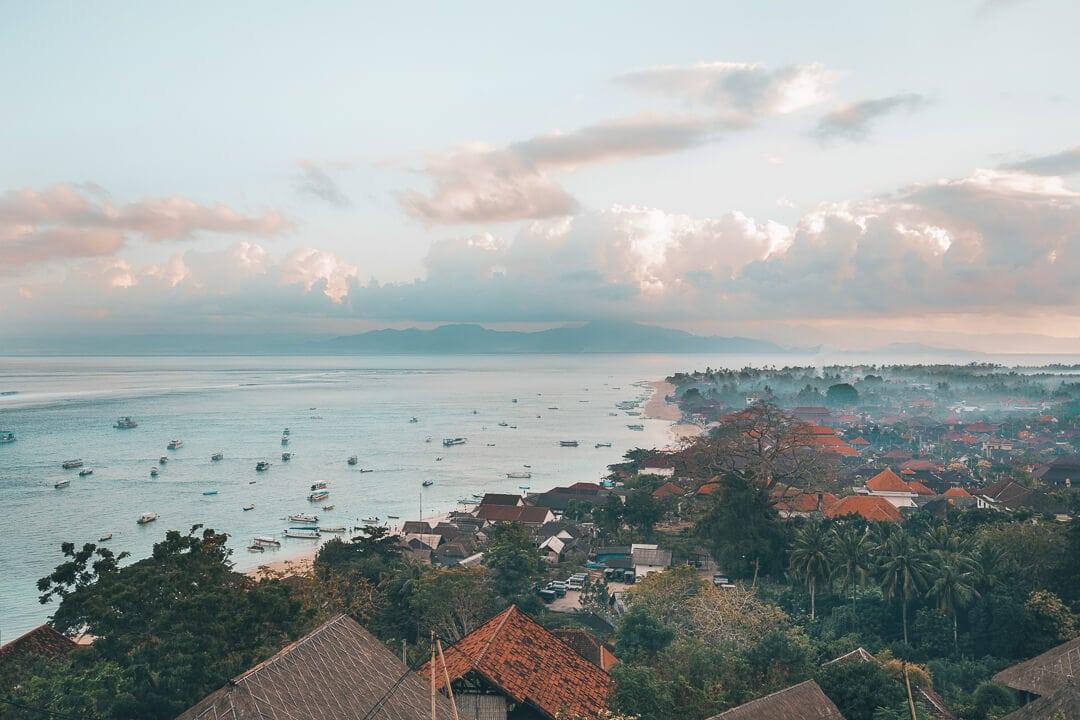 View from panorama point overlooking jungutbatu village on Nusa Lembongan island