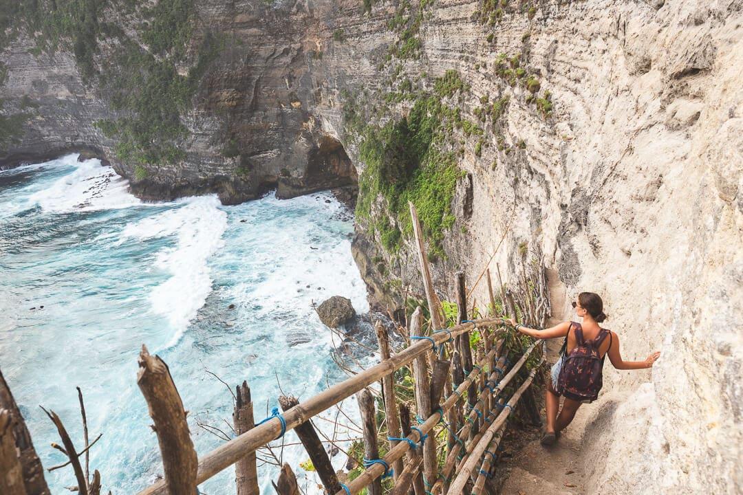 Sindhya hiking down to the Seganing waterfall on Nusa Penida Island
