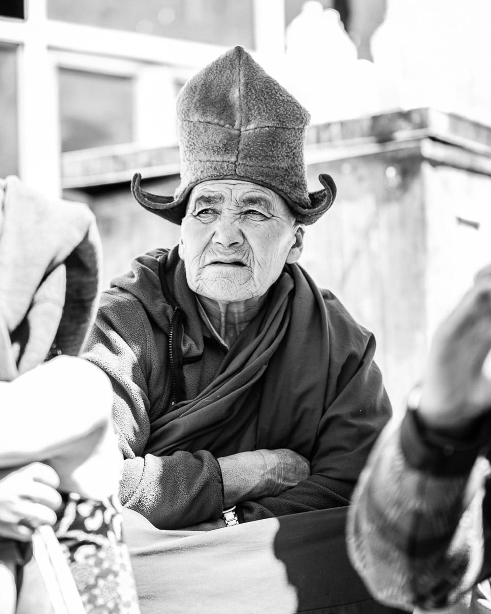 Black and white photo of a Ladakhi man in Leh, India