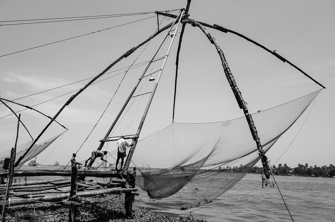 Black and white photo of Chinese fishnets in Kerala.