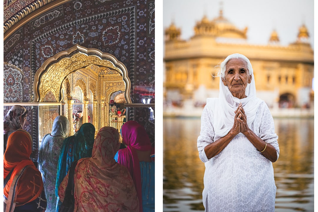 Female devotees at the Golden Temple in Amritsar, India