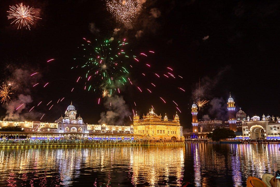 Diwali fireworks Golden Temple Gurudwara Amritsar