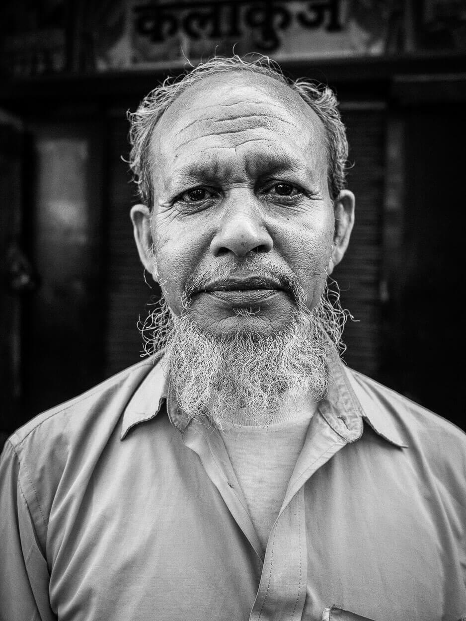 Portrait of a Muslim man in black and white. Kolkata, India