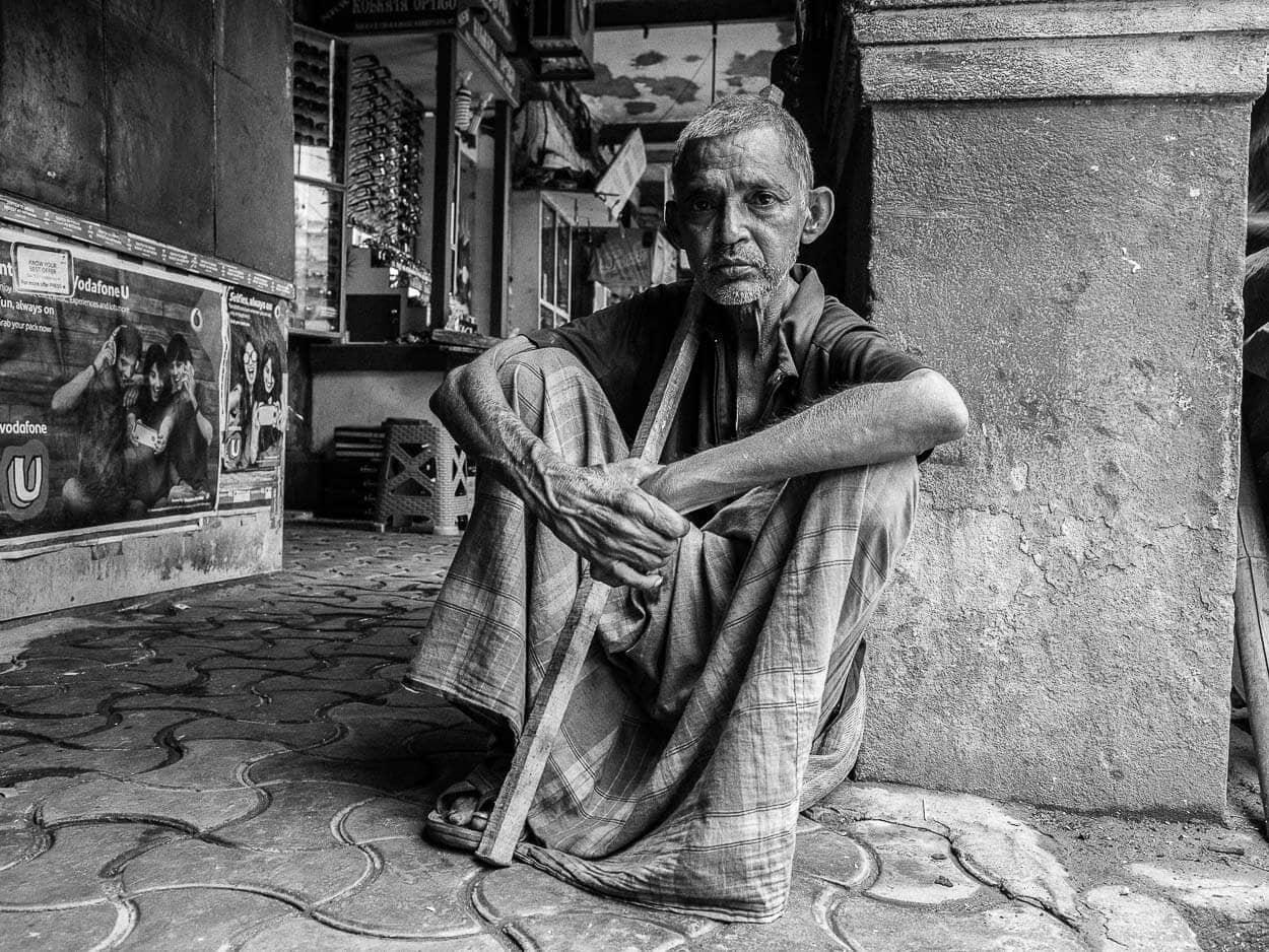 Portrait of a local man near New Market in Calcutta, India