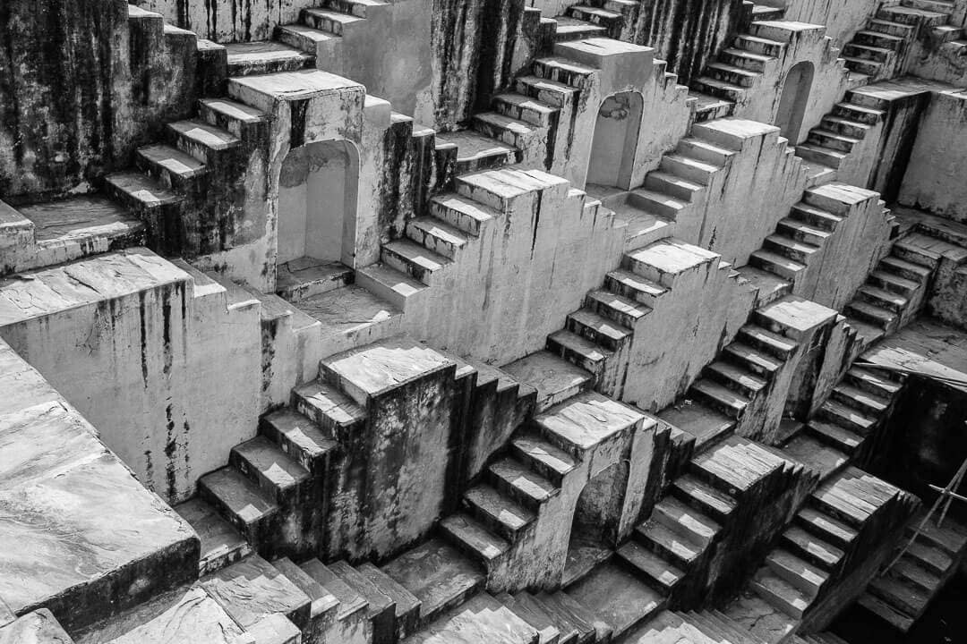Black and white shot of Panna meena ka kund stepwell outside of Jaipur