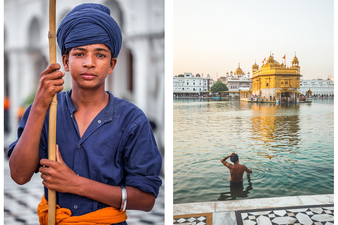 Portrait of Sikh boy and a bather at the Golden Temple