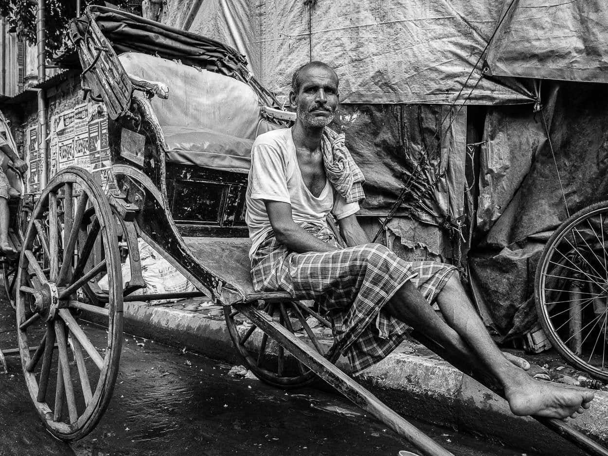 Portrait of a rickshaw man in Calcutta, India