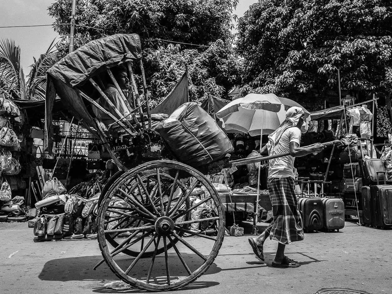 A rickshaw driver near the New Market in Kolkata, India