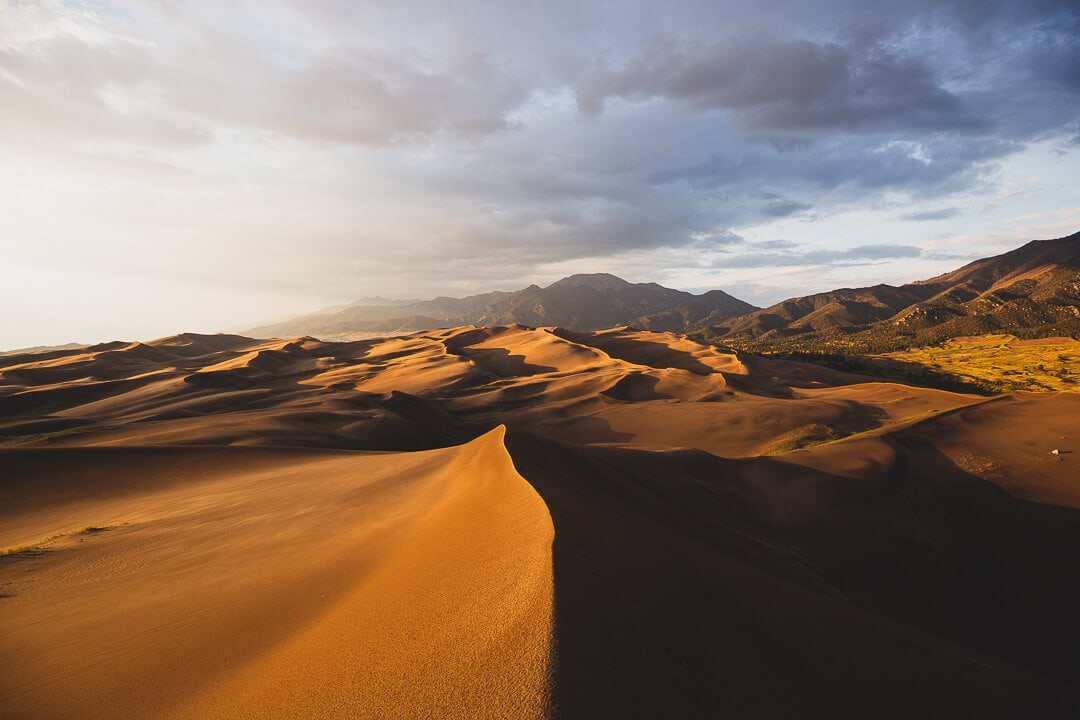 A view of sunset at Great Sand Dunes National Park in Colorado