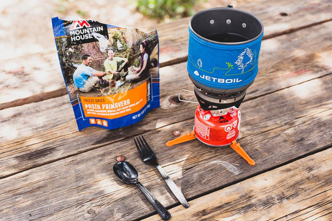 Mountain house food and Jet Boil stove for camping
