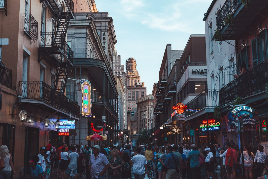 Bourbon Street in New Orleans at dusk