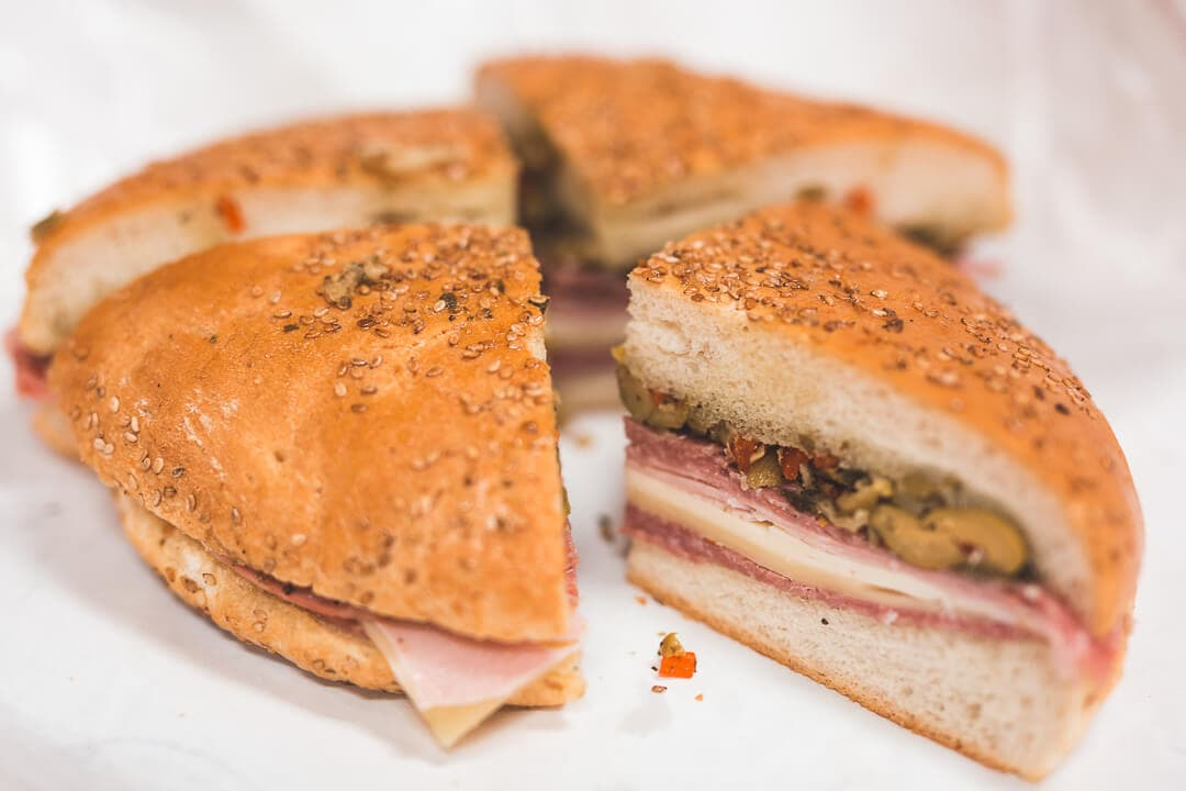 Original Muffuletta sandwich from Central Grocer in New Orleans