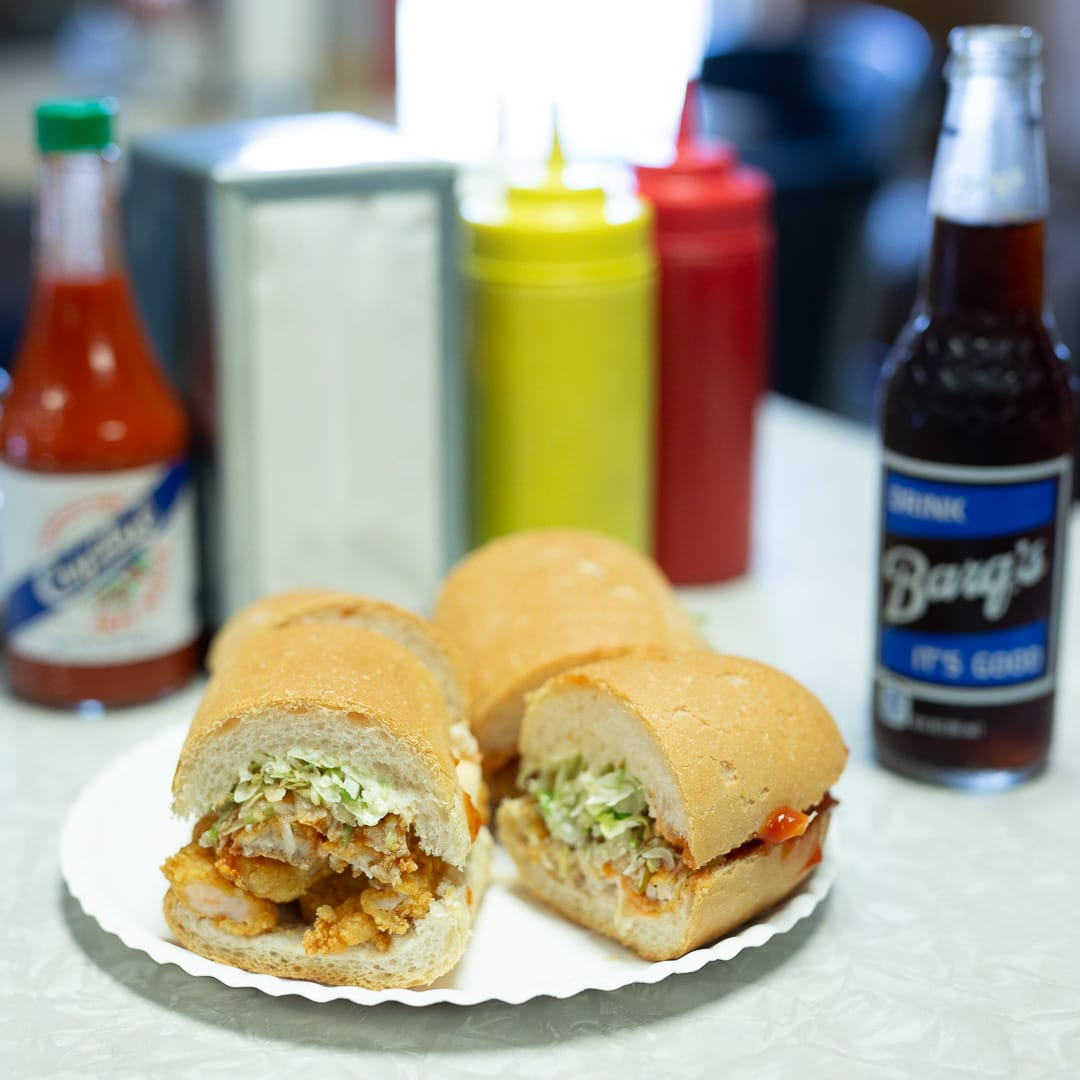 Shrimp po boy and a barq's rootbeer from Domilise's in New Orleans, LA