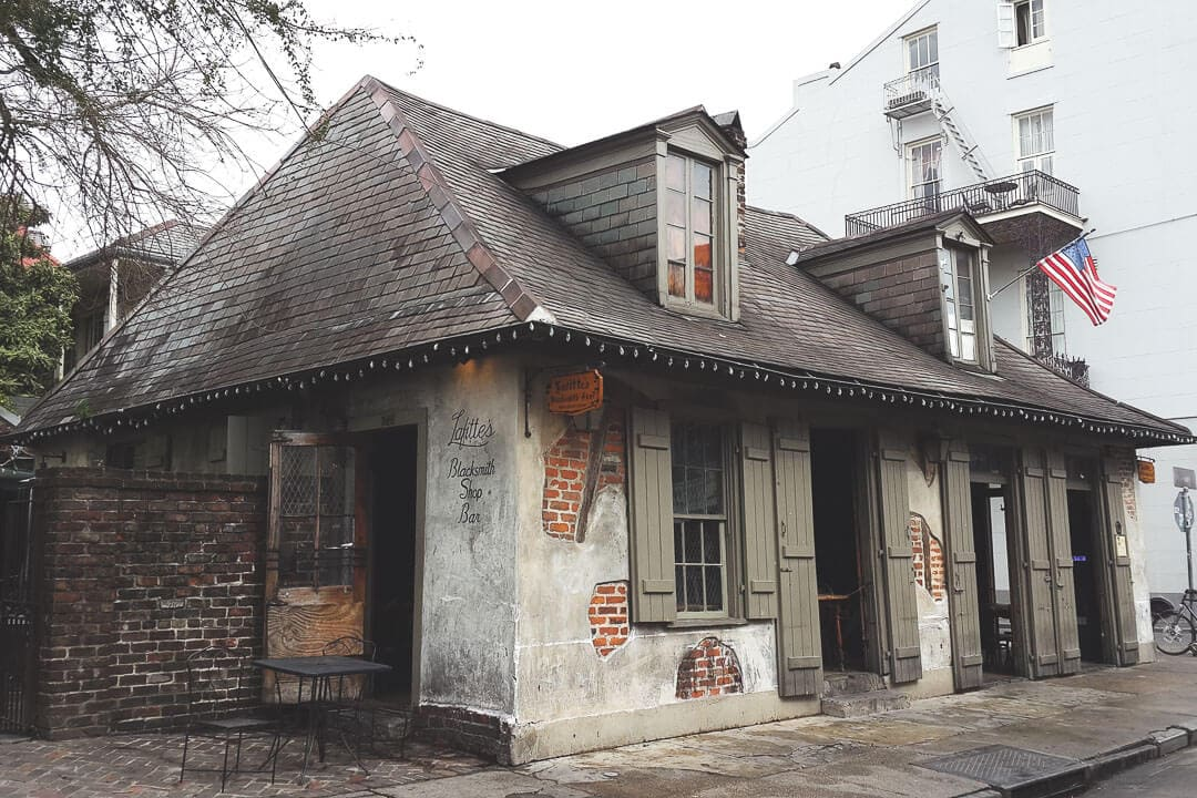 Lafitte's Blacksmith Shop on Bourbon Street in New Orleans, Louisiana