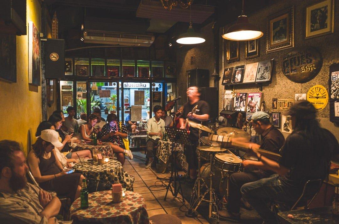 Musicians play at Adhere the 13th Blues Bar in Bangkok, Thailand