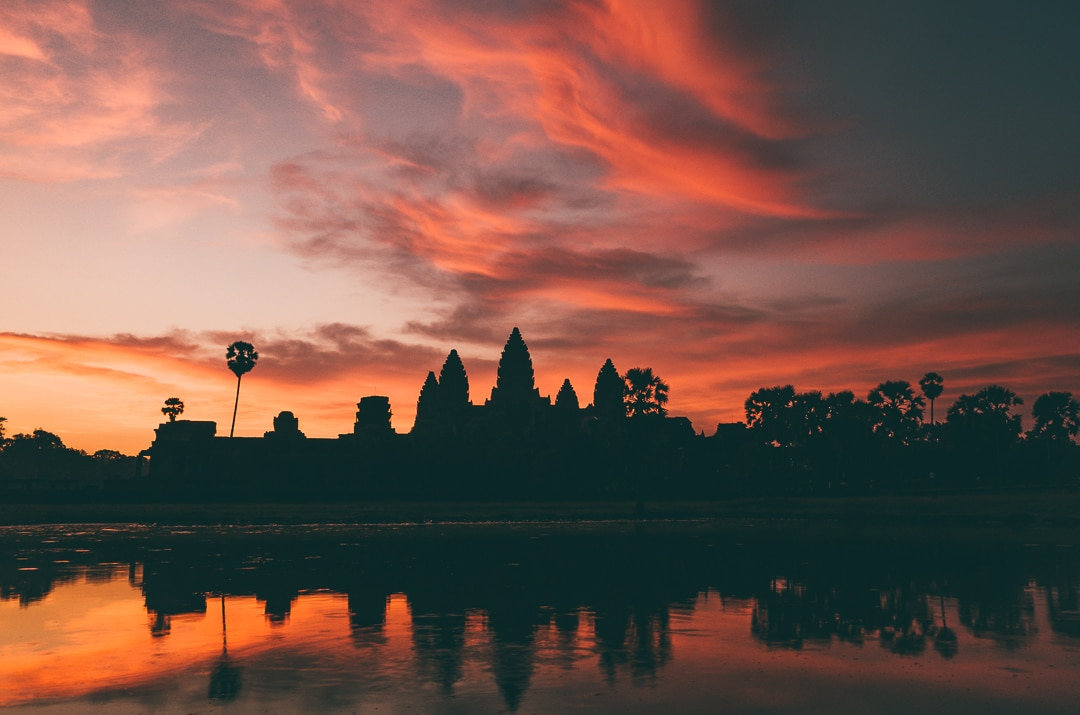 Dramatic sunrise at Angkor Wat temple in Siem Reap