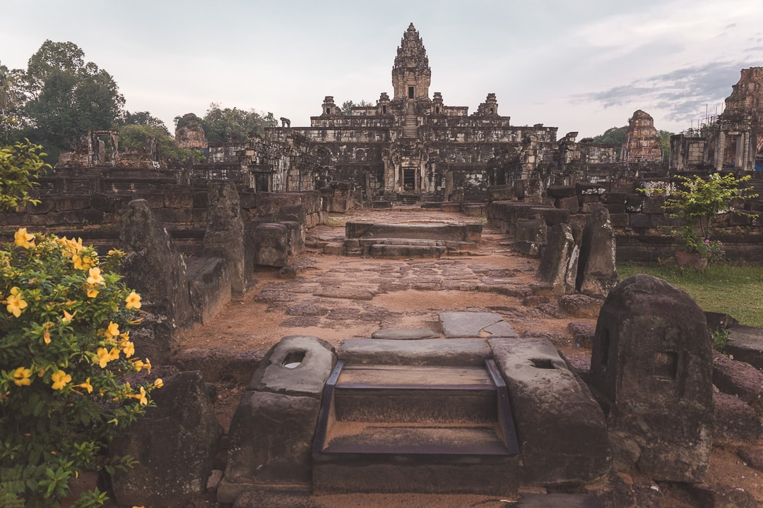 Bakong temple sits empty at sunrise. How to Avoid Tourists at Angkor complex