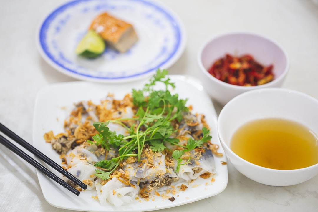 A serving of banh cuon with nuoc cham in the old quarter of Hanoi
