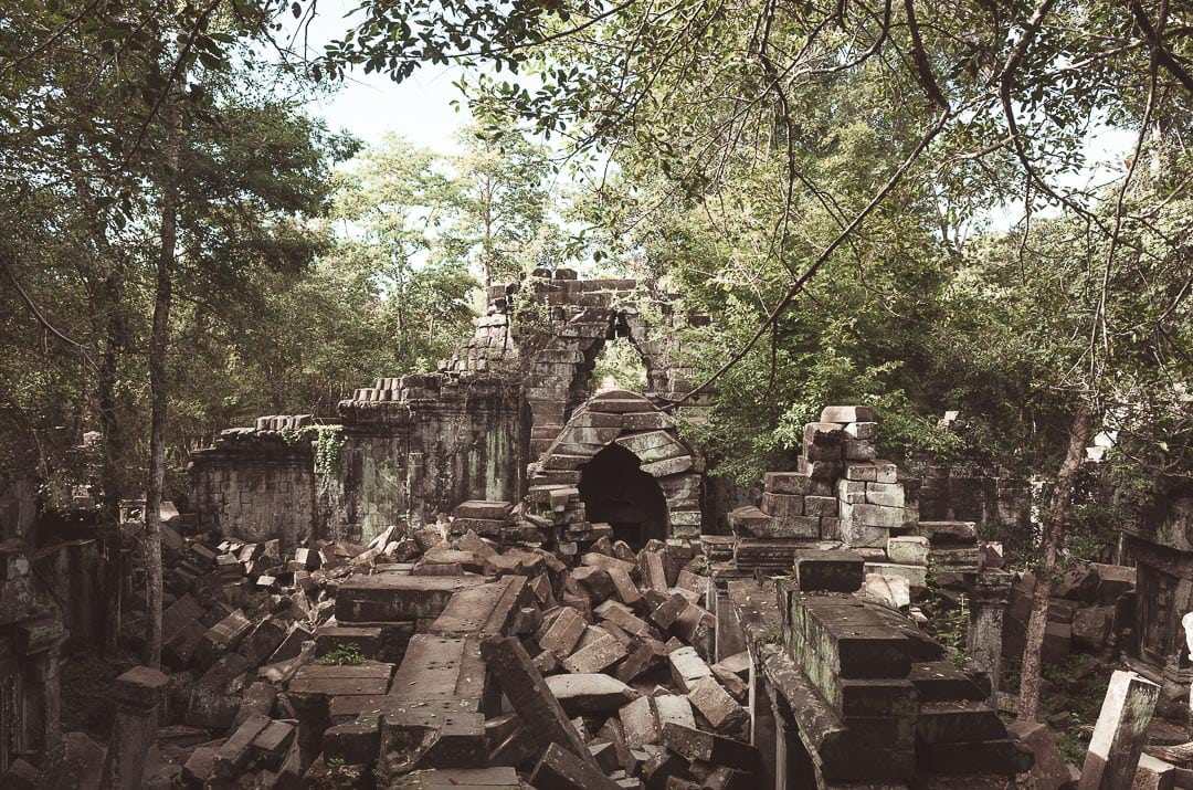 Crumbling bricks of Beng Mealea temple in Cambodia. How to Avoid Tourists at Angkor.