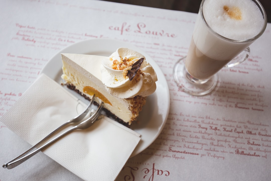 A slice of country cheesecake and a cappucino from Cafe Louvre in Prague.