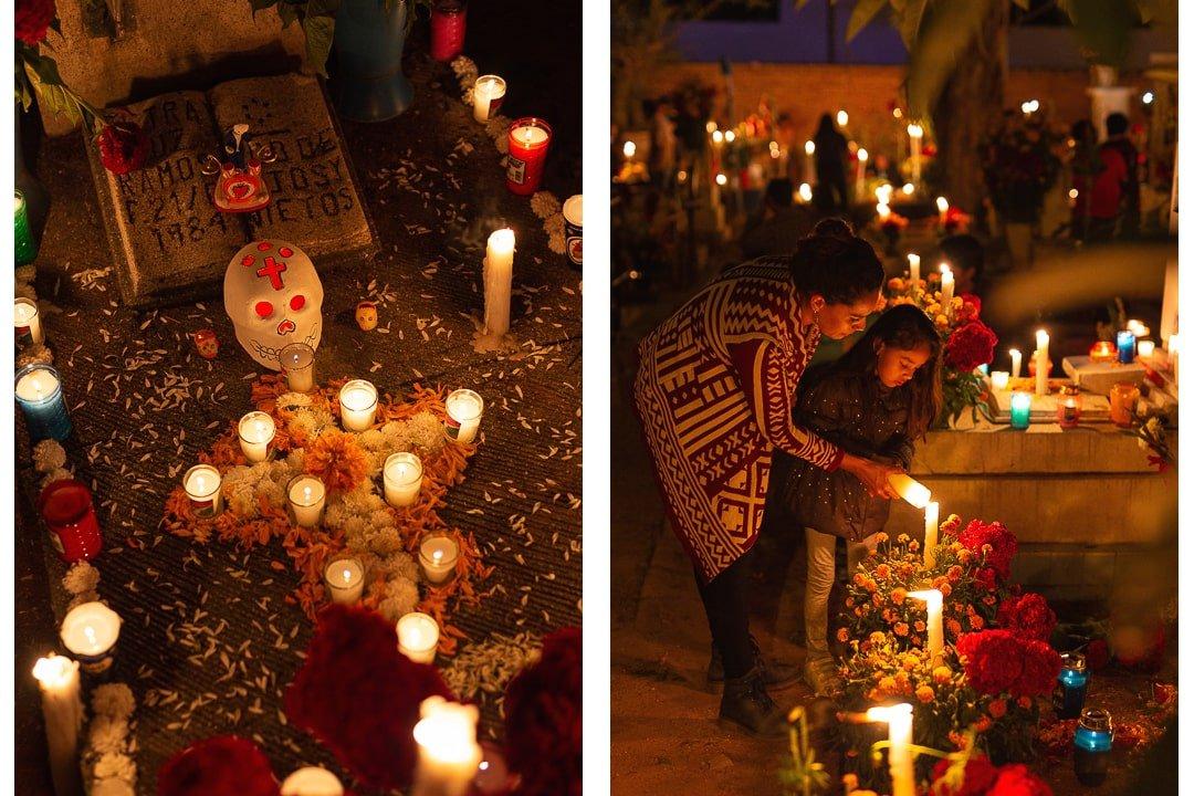 Grave decorations at Xoxocotlán cemetery for Dia de Muertos in Oaxaca