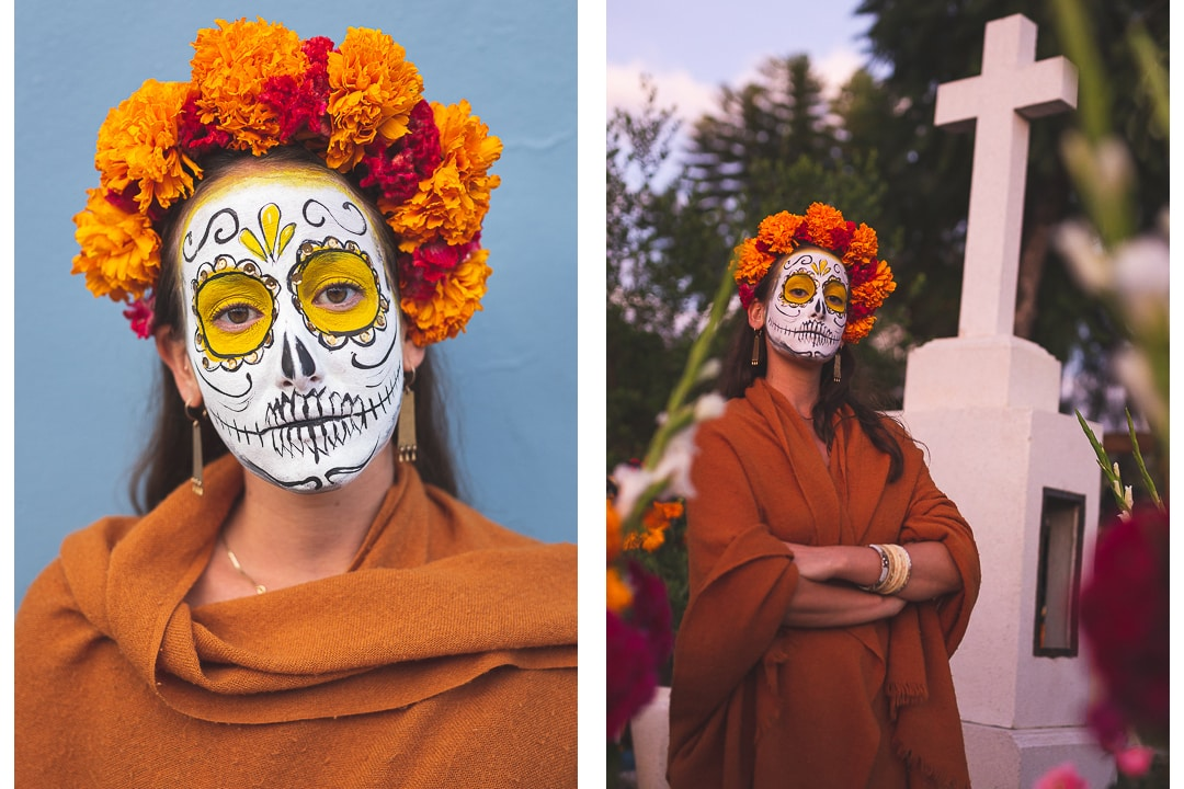 Sindhya with her face painted for Day of the Dead in Oaxaca
