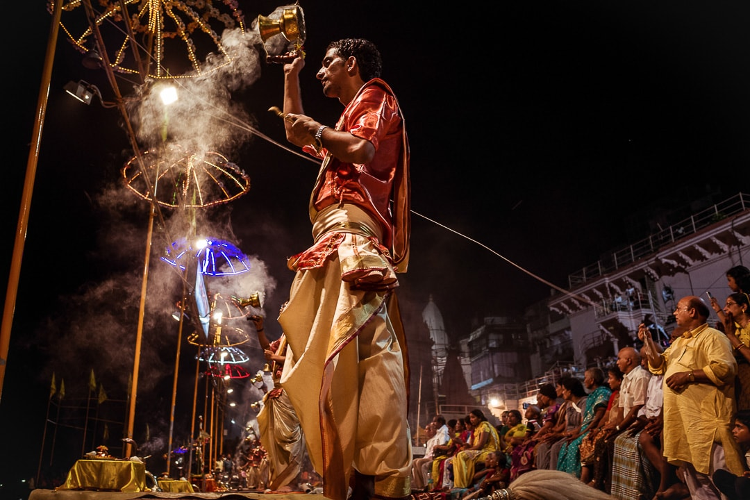 Nightly Ganga Aarti ceremony at Dashashwamedh ghat in Varanasi, India