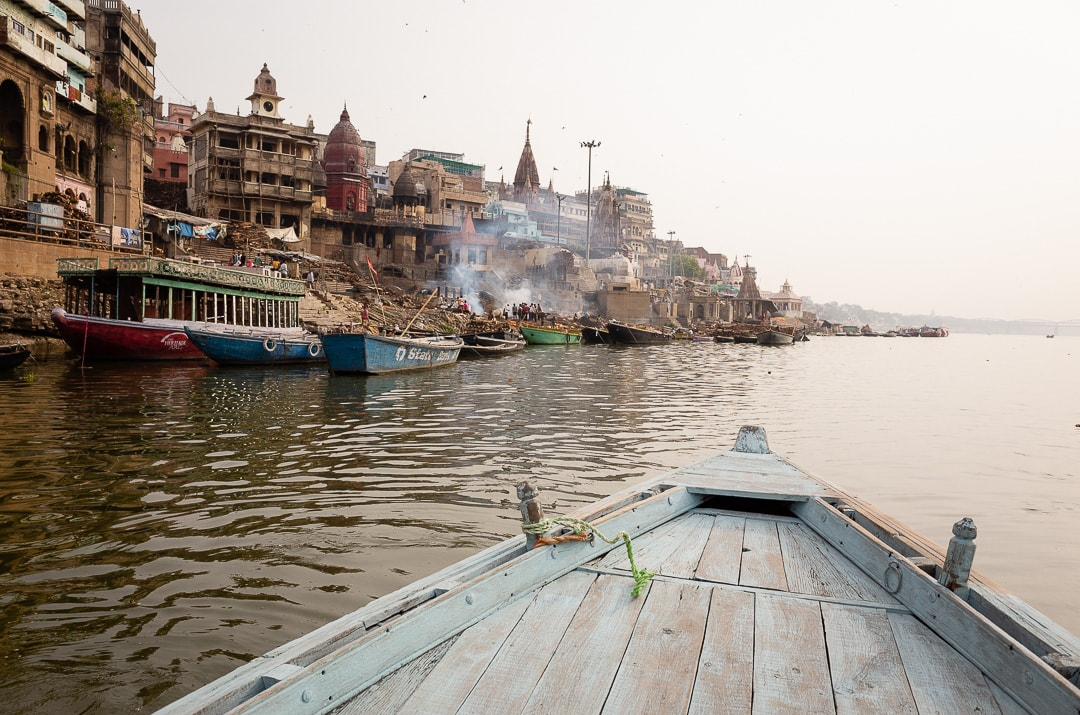 Boat ride on the Ganges river in Varanasi near the burning ghat