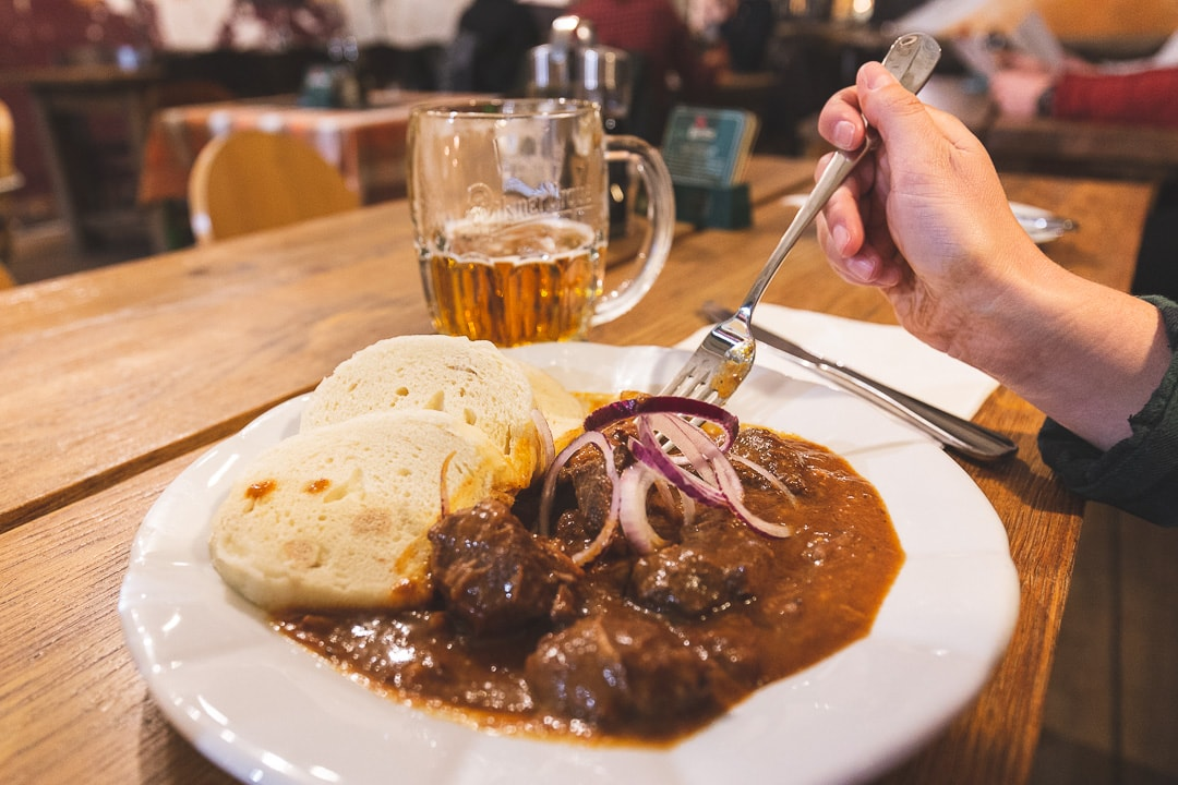 A plate of Goulash or Gulasz in a restaurant in downtown Prague