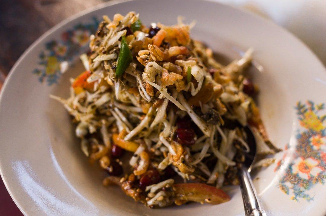 A bowl of Laphet Toke or Tea Leaf Salad in Yangon, Myanmar