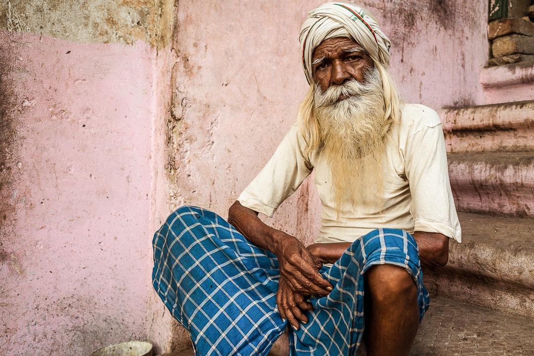 A portrait of local man in the galis of Varanasi, India