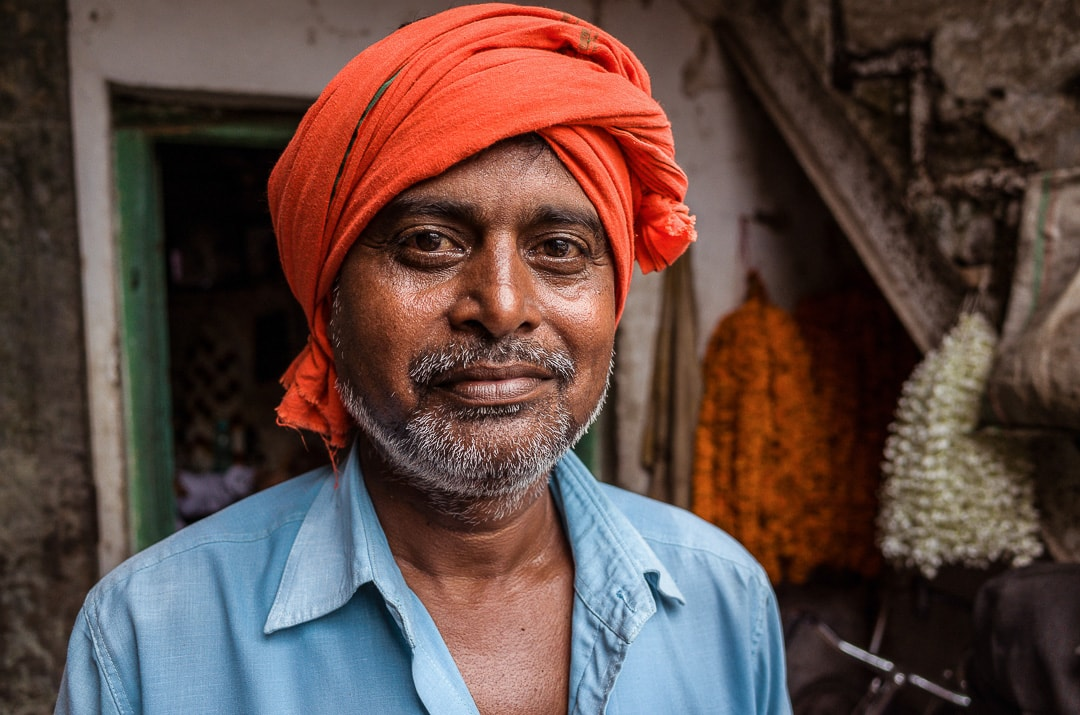 A portrait of a local Sikh man at a flower market in Varanasi, India