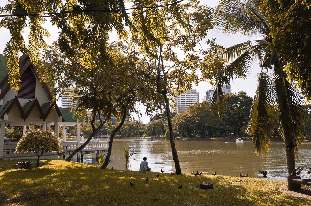 A guy sits near the lake on a sunny afternoon in Lumphini Park in Bangkok, Thailand