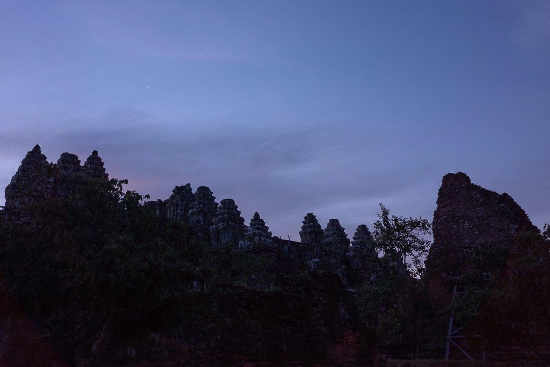 Phnom Bakheng temple before sunrise in Siem Reap, Cambodia