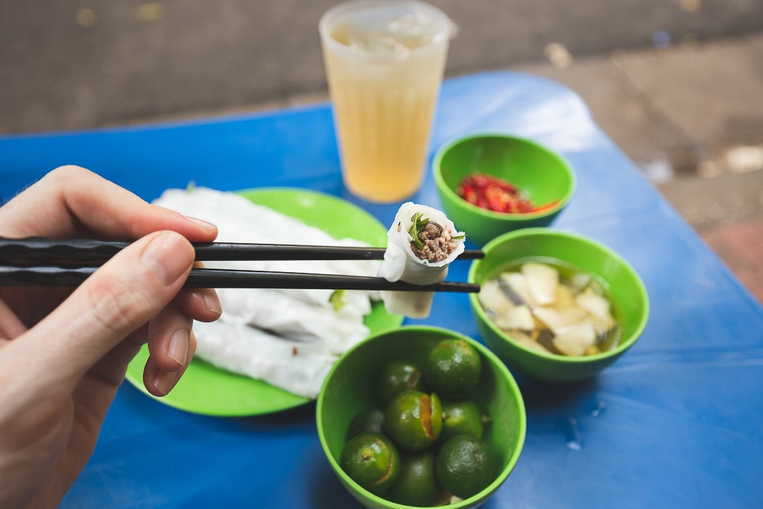 Pho cuon a common food in Vietnamese cuisine in Hanoi, Vietnam
