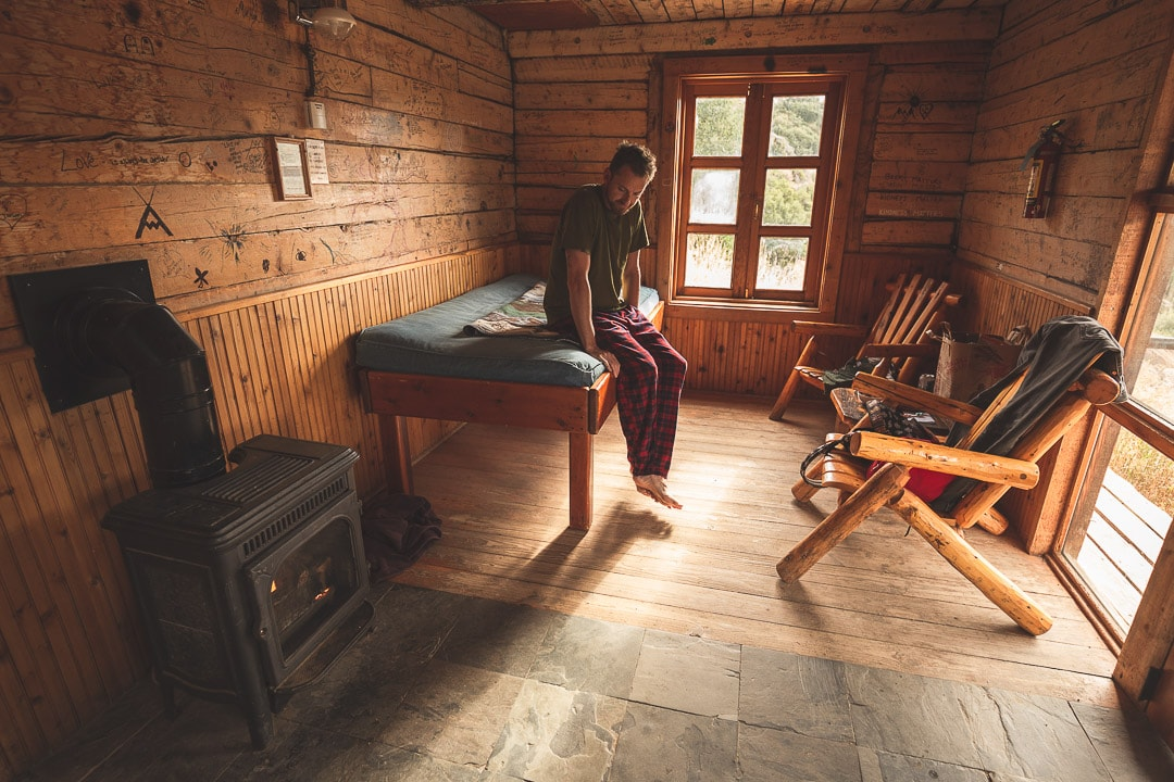 Matt wakes up inside the rustic cabin at Strawberry Park Hot Springs in Colorado
