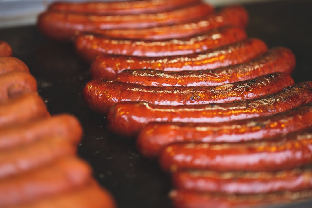 Sausages cooking in Prague, Czech Republic