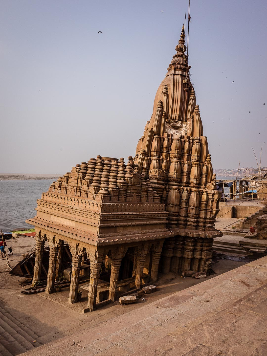 A sinking temple along the ghats near the Ganges in Varanasi