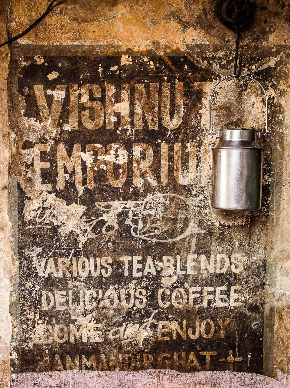 A hand painted tea shop sign in India