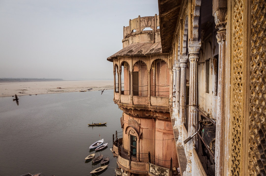 Views from the top of Bhonsale Ghat overlooking the Ganges River