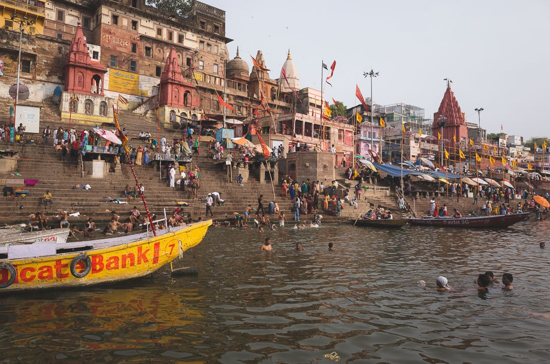 River view of boats and the ghats along the Ganges in Varanasi, India