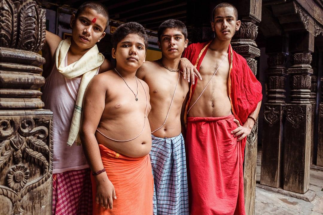 Young Brahmin boys at the Nepalese temple in Varanasi, India Uttar Pradesh