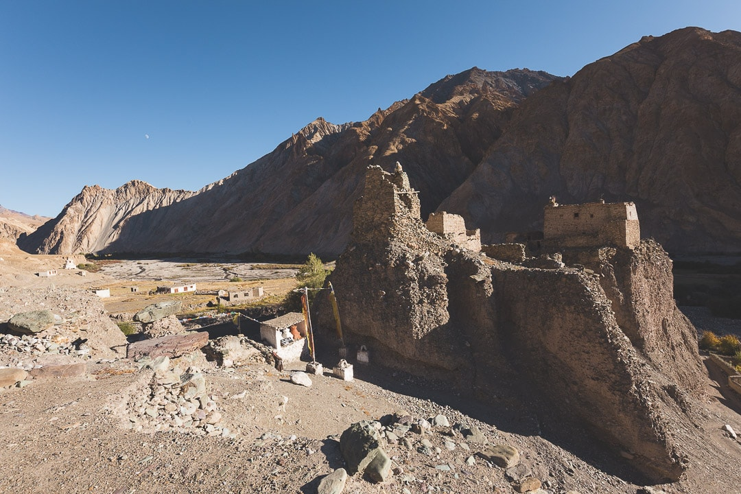 An ancient fort from a former kingdom lays empty in Ladakh, India
