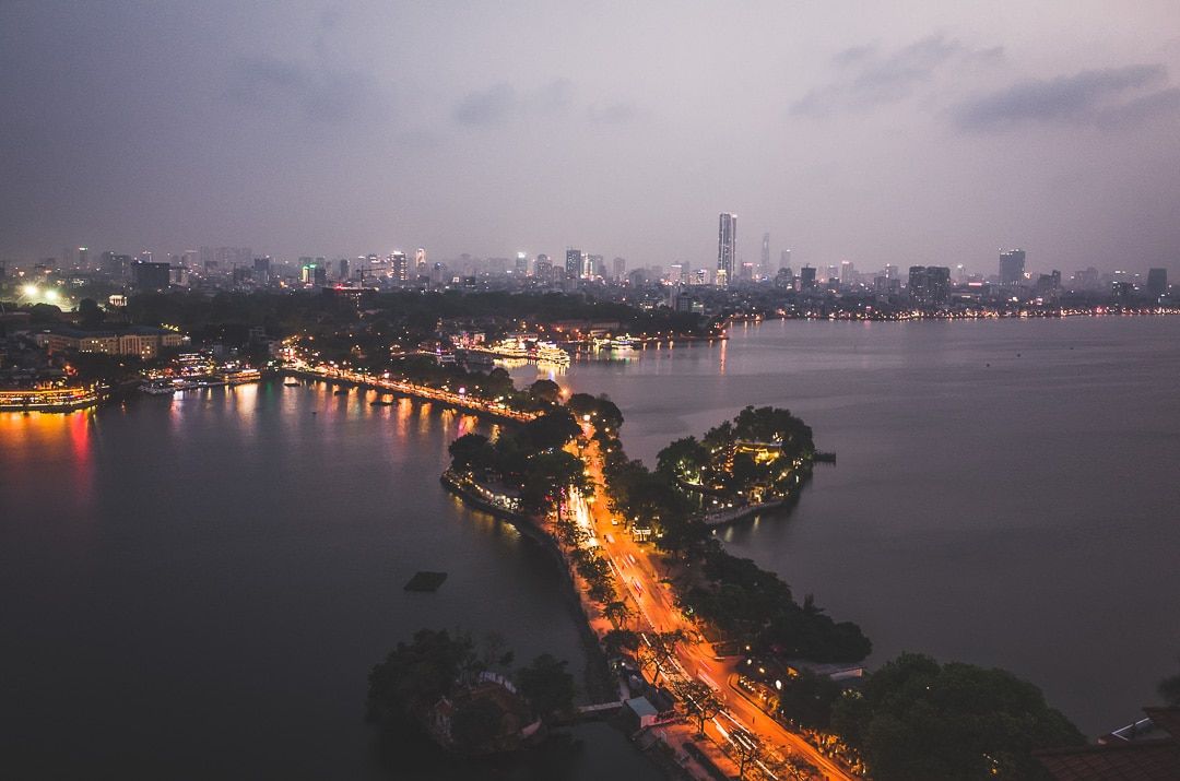 Aerial view of the causeway between West Lake and Truc Bach in Hanoi, Vietnam